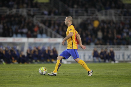 liga: SAN SEBASTIAN, SPAIN - April 6, 2016 Javier Mascherano Barcelona in action During the La Liga match espagolde Real Sociedad - FC Barcelona at Anoeta Stadium
