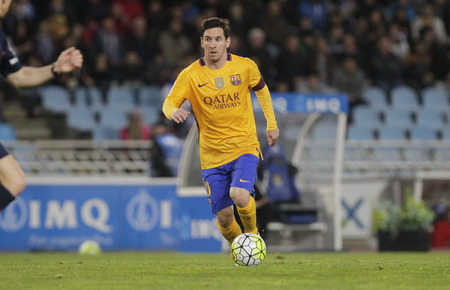 liga: SAN SEBASTIAN, SPAIN - April 6, 2016 Lionel Messi in action iBarcelona During the La Liga match espagolde Real Sociedad - FC Barcelona at Anoeta Stadium
