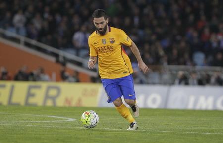 liga: SAN SEBASTIAN, SPAIN - April 6, 2016 Ada Turan Barcelona in action During the La Liga match espagolde Real Sociedad - FC Barcelona at Anoeta Stadium