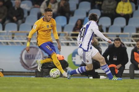 liga: SAN SEBASTIAN, SPAIN - April 6, 2016 Neymar Jr. Barcelona in action During the La Liga match espagolde Real Sociedad - FC Barcelona at Anoeta Stadium