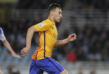 liga: SAN SEBASTIAN, SPAIN - April 6, 2016 Munir El Haddadi Barcelona in action During the La Liga match espagolde Real Sociedad - FC Barcelona at Anoeta Stadium