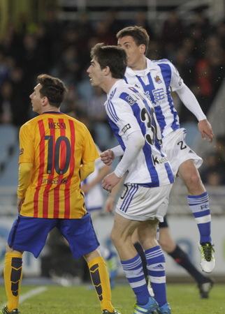 liga: SAN SEBASTIAN, SPAIN - April 6, 2016 Lionel Messi Barcelona in action During the La Liga match Real Sociedad espagolde - FC Barcelona at Anoeta Stadium
