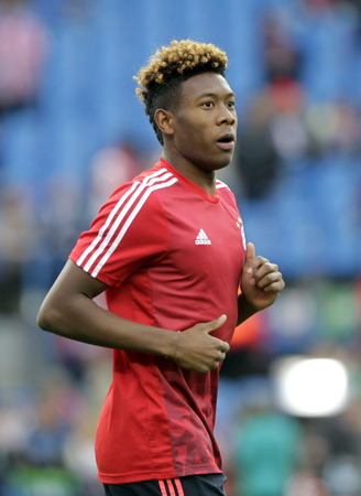 champions league: MADRID, SPAIN - April 27, David Alaba in Action During the semifinal match of the UEFA Champions League first leg between Atletico Madrid and the Bayen Munich at the Vicente Calderon April 27, 2016 Madrid, Spain