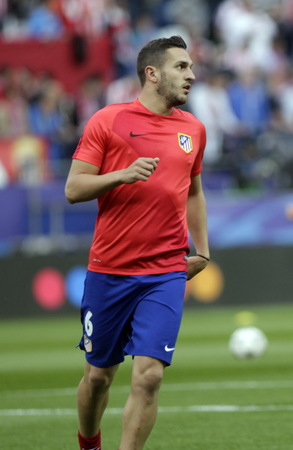 champions league: MADRID, SPAIN - April 27, Koke in Action During the semifinal match of the UEFA Champions League first leg between Atletico Madrid and the Bayen Munich at the Vicente Calderon April 27, 2016 Madrid, Spain