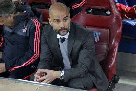 champions league: MADRID, SPAIN - April 27, Pep Guardiola Coach in Action During the semifinal match of the UEFA Champions League first leg entre Atletico Madrid and the Bayen Munich at the Vicente Calderon April 27, 2016 Madrid, Spain
