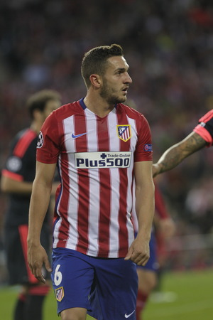 champions league: MADRID, SPAIN - April 27: Koke in action During the semifinal match of the UEFA Champions League first leg entre Atletico Madrid and the Bayen Munich at the Vicente Calderon April 27, 2016 Madrid, Spain