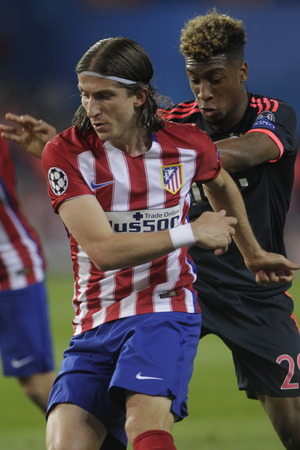 champions league: MADRID, SPAIN - April 27: Luis Felipe in action During the semifinal match of the UEFA Champions League first leg between Atletico Madrid and the Bayen Munich at the Vicente Calderon April 27, 2016 Madrid, Spain Editorial
