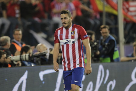 champions league: MADRID, SPAIN - April 27: Koke in action During the semifinal match of the UEFA Champions League first leg between Atletico Madrid and the Bayen Munich at the Vicente Calderon April 27, 2016 Madrid, Spain