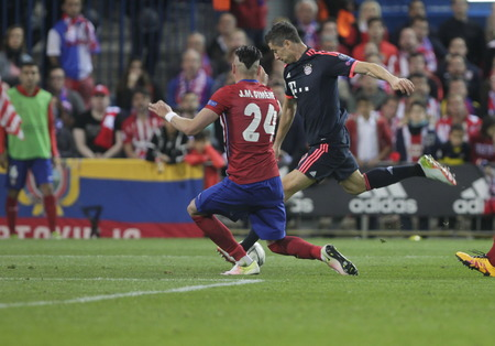 champions league: MADRID, SPAIN - April 27: Robert Lewandowski in action During the semifinal match of the UEFA Champions League first leg between Atletico Madrid and the Bayen Munich at the Vicente Calderon April 27, 2016 Madrid, Spain