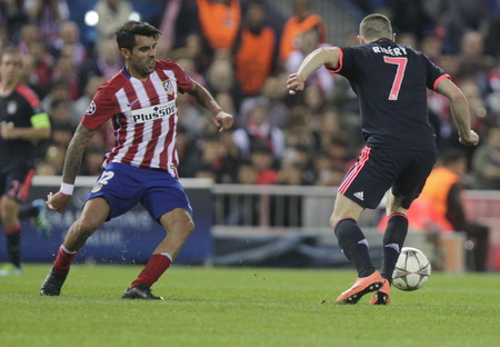 champions league: MADRID, SPAIN - April 27: Franck Ribery in action During the semifinal match of the UEFA Champions League first leg between Atletico Madrid and the Bayen Munich at the Vicente Calderon April 27, 2016 Madrid, Spain Editorial