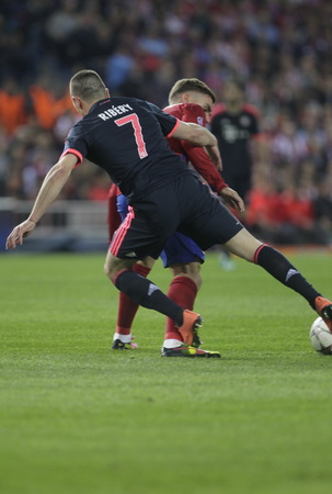 champions league: MADRID, SPAIN - April 27: Antoine Griezmann in action During the semifinal match of the UEFA Champions League first leg between Atletico Madrid and the Bayen Munich at the Vicente Calderon, April  27, 2016 Madrid, Spain