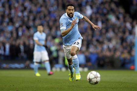 マンチェスター、イギリス - 4 月 26 日: UEFA チャンピオンズ リーグの準決勝と決勝進出中の最初脚マンチェスター ・ シティとエティハド スタジアム