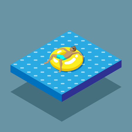 isometric sea and rest Illustration