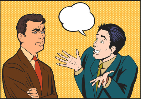 say: upset man say pop art comics vector Illustration