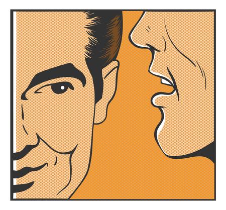 say: man say pop art comics vector Illustration
