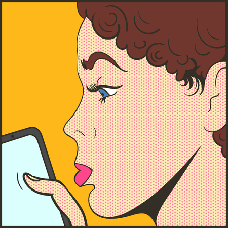 woman with mobile pop art comics vector