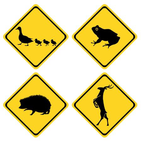 anuran: warning road sign animals set Illustration