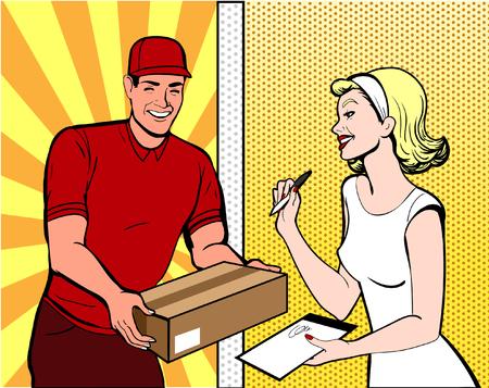 arte pop de entrega Ilustración de vector