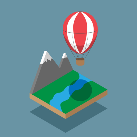 isometric mountains with baloon