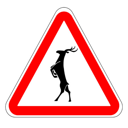 danger ahead: warning sign caution deer Illustration