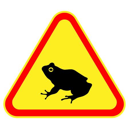 triangular warning sign: caution sign frog Illustration