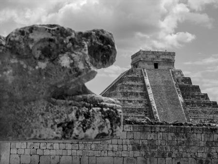 Chichenitza Pyramid. Black and White Stock Photo