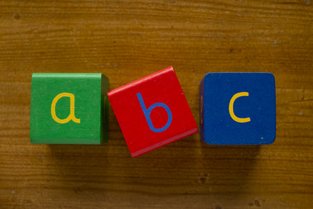 greeen: Colorful wooden blocks spelling the word ABC