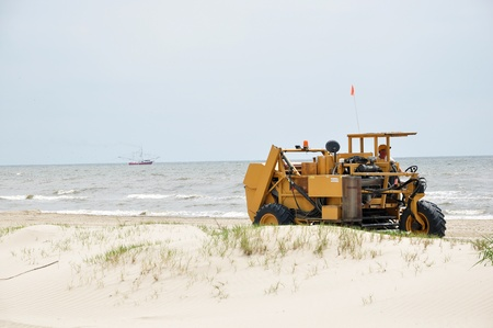 Grand Isle, Louisiana - April 14, 2011 - One year after the Deep Water Horizon oil spill workers are still on Grand Isle
