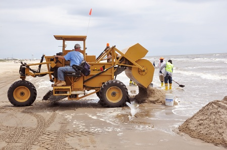 Grand Isle, Louisiana - April 14, 2011 - BP oil spill cleanup continues on Grand Isle