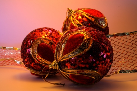 Christmas ornament with three red balls Stock Photo - 16671097