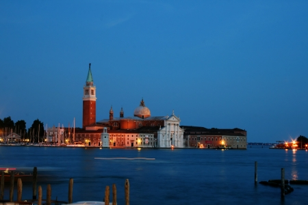 Venice church at night photo