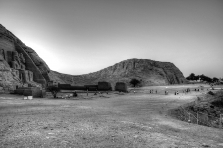 view of the two temples of Abu Simbel in black and white photo
