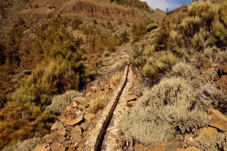 conduction: conduction of water in volcanic landscape