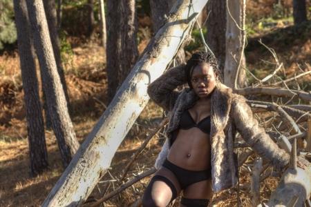 black woman posing in lingerie Stock Photo - 17972771