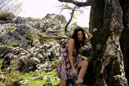 brunete: pretty girl posing in nature Stock Photo