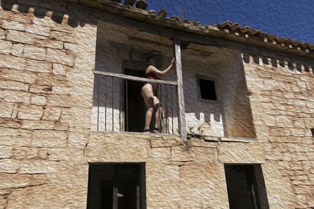 the naked girl: chica desnuda en casa en ruinas