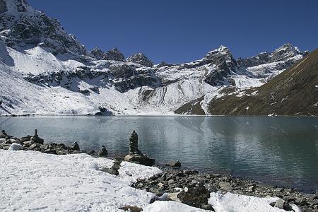 serac: mountain peaks in himalayas