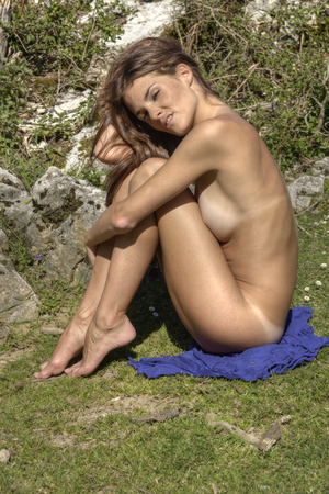 nude nature: naked woman in nature Stock Photo