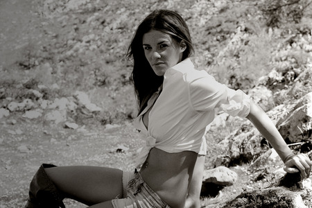 provocative women: pretty girl posing in nature Stock Photo