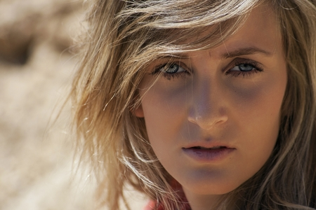 provocative women: pretty girl posing in the desert