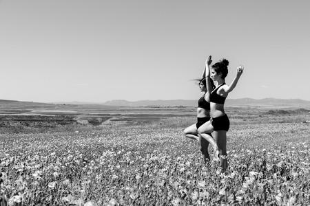 sportwoman: girls doing yoga in nature