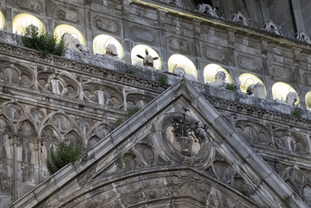 spiritual architecture: facade of an ancient church Stock Photo