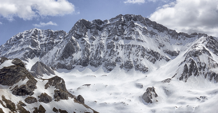 snowy landscape in the pyrenees 写真素材