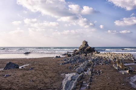 rock in the beach os sopelana Stock Photo
