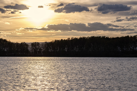landscape in a lake at sunset Stock Photo