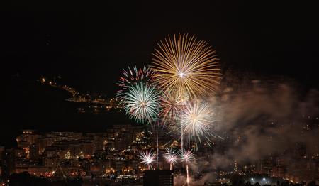 fireworks in the night of bilbao
