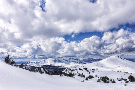 snowy landscape in the pyrenees Stock Photo