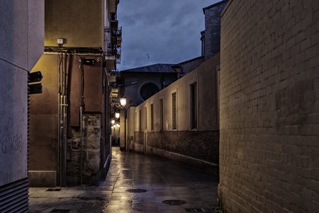 street in zaragoza at night