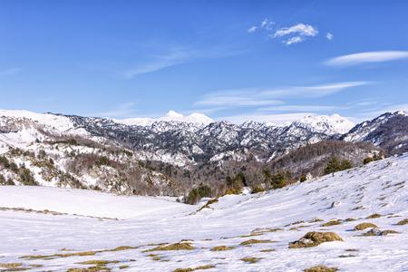 snowy mountain  in spain Stock Photo