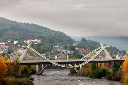 modern bridge in the city of ourense Stock Photo